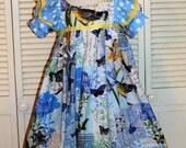 Blue Bird Print Ruffled Dress in Size 8