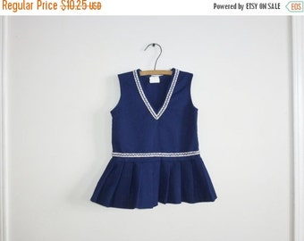 SALE // Vintage Navy Pleated Polyester Dress
