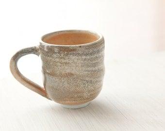 Gray smokey  wheel thrown small mug