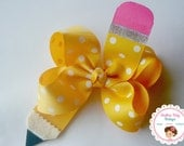 NEW---Big Boutique Hair Bow Clip---No. 2 Pencil---Back to School Bow