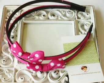 NEW----Hair Bow Doubled U-Shape Headband---Shocking Pink with White Dots----
