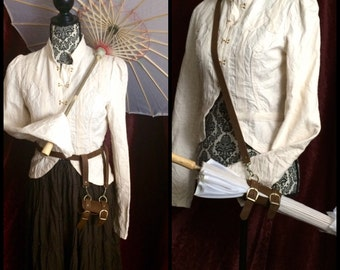 Parasol Holster silk parasol Steampunk umbrella, brown leather holster, with shoulder strap or Belt loops, antique brass, Ren faire cosplay