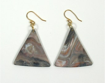 Rare Marble Colored Vinyl Record Album Earrings Tan, Gray, Pink, Black, White and Peach