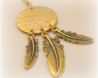 Dreamcatcher Feathers Jewelry Necklace Feather Necklaces Long Gold Layering Dangle Piece Bird Jewellery Dreamcatchers Unique Gifts Verabel