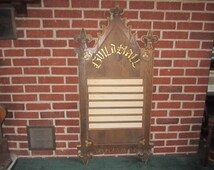 Vintage Large Hand Carved GUILD HALL Wall Message Board with Wonderful Gothic Design