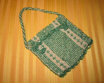 Vintage 1920s Art Deco Green Glass Beaded Flapper Envelope Purse