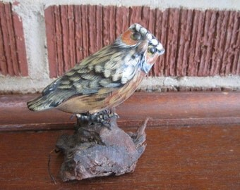 Vintage Beautiful Little Hand Carved Wood Great Horned Owl Bird Sculpture