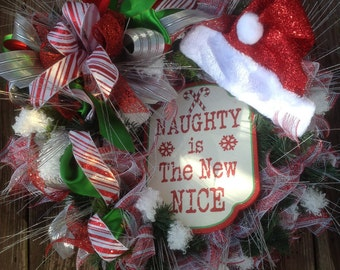 NAUGHTY is the NEW NICE deco mesh wreath, fun for all ages, shimmer ribbon, Christmas wreath