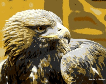 Golden Eagle Art, Bird Wall Hanging, Native American Totem Animal, Southwestern Wilderness, Abstract Realism, Wildlife Home Decor, 8 x 10