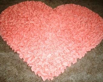 Peach Heart-Shaped Rug, NurseryRug, KidsRug,BabyRug,Children'sRug,ShagRug,ShagRagRug