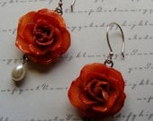 Real Roses in Resin-earrings in salmon pink with pearls, 2 1/4 inches or 5.5 cm