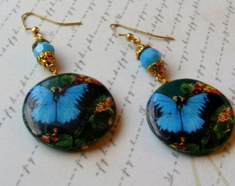 Blue Butterfly Earrings-decoupage and glass, 2 3/4 inches or 7 cm