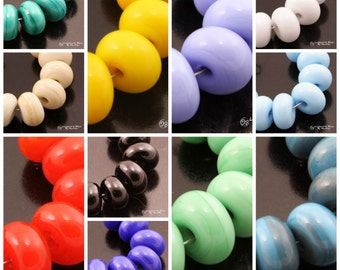 Lampwork Beads Opaque Spacer Set Green Purple Blue Yellow Red Black Ivory Periwinkle Handmade by Heather Behrendt SRA MTO