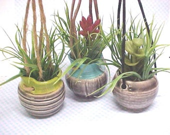 Mini Pottery Planter Hanging Faux Plants Concrete Color Miniature Pottery