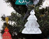 Christmas tree ornament in white acrylic hand painted in silver