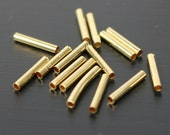 100 pcs Gold Plated Tube Spacer Beads Findings - 10x1.5mm - USA Seller