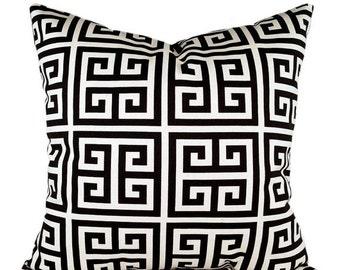 Premier Prints Towers Onyx Black and Cream Maze, Greek Key Decorative Thow Pillow -- Free Shipping