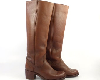 Frye Campus Boots Vintage 1980s Tall Brown Cowboy Leather Women's 6 B