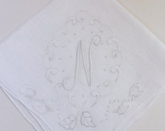 Vintage White Hanky with a White Initial N - Handkerchief Hankie