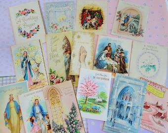 Blessings and Prayers Are Expressed in Vintage Religious and Inspirations Greeting Cards Vintage All Occasion Lot No 134 Lot of 15