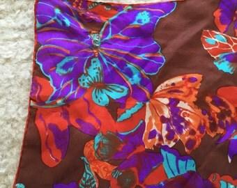 Psychadelic 100% Silk Butterfly Scarf