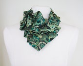 Aster Ruffle Necktie Scarf - Emerald Forest Paisley