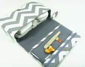 Chevron diaper bag, diaper clutch, grey diaper purse with clear zipper pouch, baby shower gift