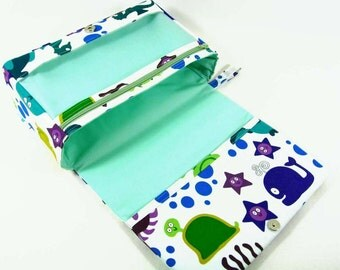 New and larger diaper bag organizer with three pockets, baby gift, new parents, diaper clutch, nappy bag, diaper purse, under the sea