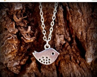 ON SALE Simple Little Bird Silver Plated Necklace