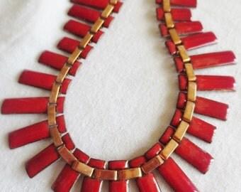 Vintage Matisse Renoir Necklace Copper Red Enamel MCM Peter Pan Choker Jewelry