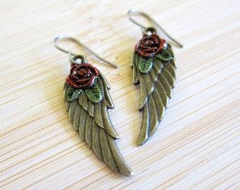 Angel Wing Red Rose Leaf Hand Painted Earrings Bronze