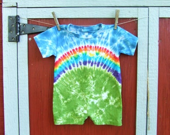 24m Tie Dye Baby Romper - Rainbow Bliss -  Ready to Ship
