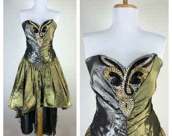 Vintage 1980s Prom Dress Black Green Gold Silver Metallic Beaded Trophy Dress