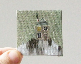 winter came early  / MINIATURE painting on canvas panel