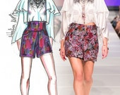 Liza Silk  Floral Short Shorts High Waist    Size Small