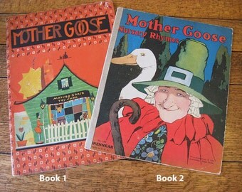 Two 1930s Mother Goose Nursery Rhymes Childrens Illustrated Books Suitable for Framing