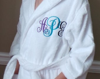 Terry Cloth Bathrobes Children's Robes Hooded Personalized  Embroidered  2 sizes to choose. Very thick and cozy. Kids robes