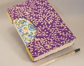 Journal, Notebook, Sketchbook or Guestbook, Unique and Hand-bound in Beautiful Gold Vines, Rich Purple and Italian Paper