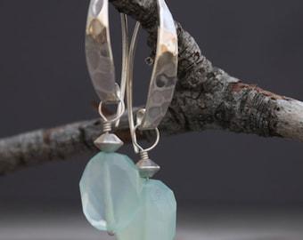 Chalcedony Hammered Sterling Silver Earrings - Sea Blue Earrings