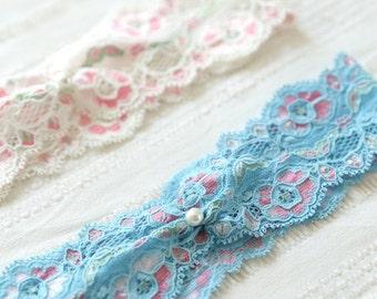 Something blue lace wedding garter, wedding accessory, bridal gift - style #524