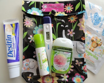 Medium Ouch Pouch Clear Pocket Organizer for First Aid Purse Insert Diaper Bag Baby Shower Gift (5x7 Elephant Garden Fabric) Mom Gear