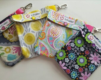 Inhaler or Auvi Q Pouch Clear Front W/ Clip Holds 1-2 Asthma Puffer or Square Epi Injector Medication - 4x5  4x5 Your Choice Floral Fabric