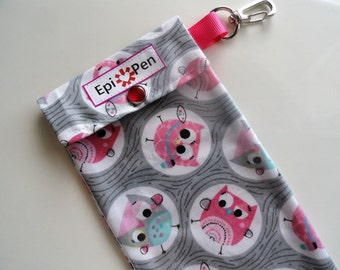 Owl Epi Pen Pouch Girls Medicine Organizer Clip Case with Clear Front, ID Card Holds 2 Allergy Pens - 4x8 School Owls on Gray Fabric