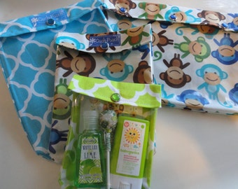 Monkey Ouch Pouch Set 4 Sizes 'Clear Pocket' Travel Organizer Bags for First Aid Medications Diapers/Wipes Snacks