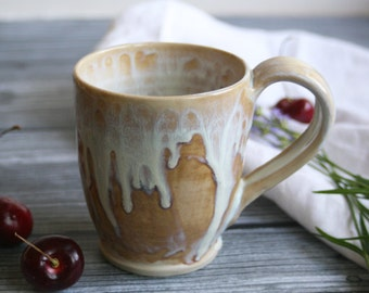 White and Ocher Coffee Cup Handmade 12 oz. Stoneware Mug Ready to Ship Made in USA