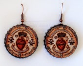 5 pair Sacred Heart Bottle cap earrings