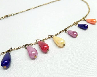 necklace, multicolored beads teardrop shaped charms, gold tone, 1960s jewelry, dangle necklace
