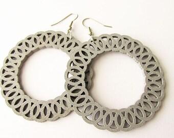 Large Silvery Grey Wooden Hoop Earrings