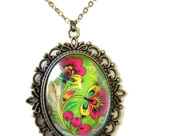 Green Pink and Yellow Floral Glass Dome Necklace. Large Pendant