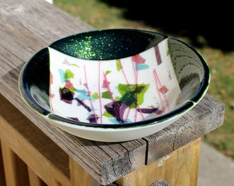 Sparkling Emerald Green, Dark Pink, Purple, Light Blue and Off White Fused Glass Bowl